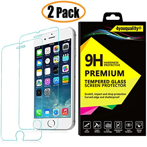 [2-Pack][Lifetime Warranty] iPhone 6 PLUS and 6S PLUS Screen Protector,  4youquality Premium 9H Tempered Glass Film