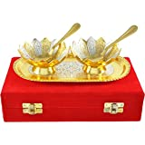 ME&YOU Dry Fruits Serving Bowls;ME&YOU Gold & Silver Plated Brass Bowl,Spoon & Tray Set Of 5 Items