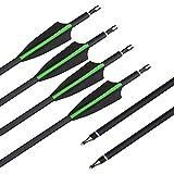 SHARROW 12pcs Freccia di Carbonio 30.5 Pollici Spine 500 Tiro con L'Arco in Carbonio Frecce per Arco Compound Ricurvo (Verde)