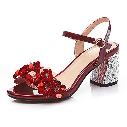 Sommer leder high heels/Großes wort wort abzug zehe in den sandalen F