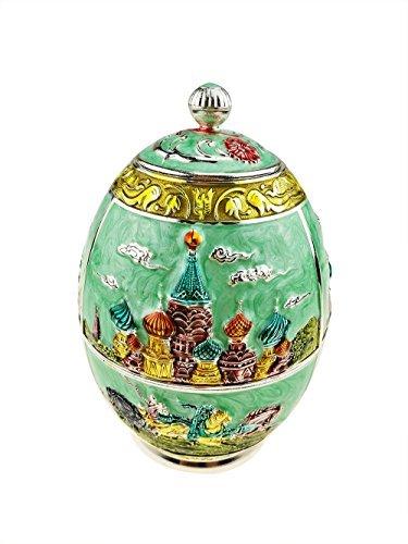Luxus Gravieren Kreml Emaille Musikspieluhr Fabergé-Dose Kanister Metall Tee Container für losen Tee dekorativer Tee Vorratsglas Tee Kultur Andenken Craft Ornament Home Decor grün (Ei-kanister)