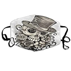 Anti Dust Face Mask,Reusable Warm Windproof Mouth Mask,Sketch of Mexican Spanish Festive Celebration Skull Head Flowers