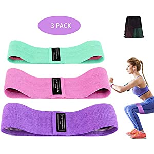 STRENTER Resistance Bands Sets, Premium Exercise Loops Anti Slip Fabric for Legs & Rump, Exercise Hip Resistance Bands for Men or Women, Fitness Loop Bands for Exercise, Yoga, Booty Training (3 Sets)