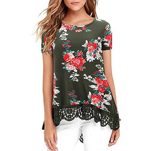 PorLous T-Shirt, Frau 2019 Kurze Ärmel Mode Frauen Spitze Kurzarm Weißes Hemd Lässige Print Top Lose Baumwolle Bluse Elegant Bequem Groß