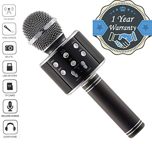 Drumroar WS-858 Karaoke Wireless Bluetooth Rechargeable Microphone with Inbuilt Speaker & Audio Recording for All iOS/Android Smartphone (Assorted Colour)