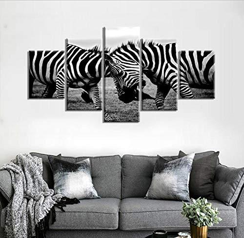 Viccc Wall Art Print Leinwand Wand Kunst Bilder Home Decor 5 stücke Schwarz Und Weiß Zebras African Tier Malerei Modulare HD Drucke Poster Rahmen Completely Framed (Zebra-print-leinwand-wand-kunst)