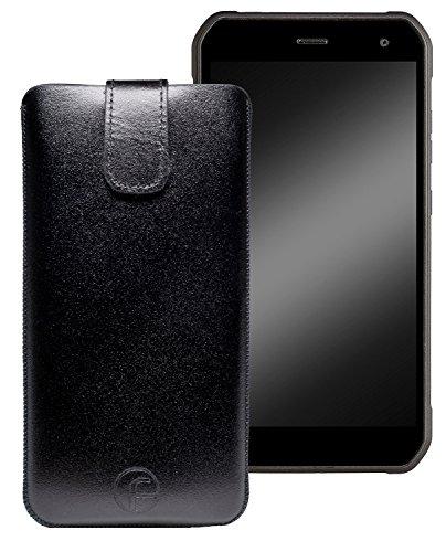Favory Original Etui Tasche für Cyrus CS24 Leder Etui Handytasche Ledertasche Schutzhülle Case Hülle Lasche mit Rückzugfunktion* in Schwarz
