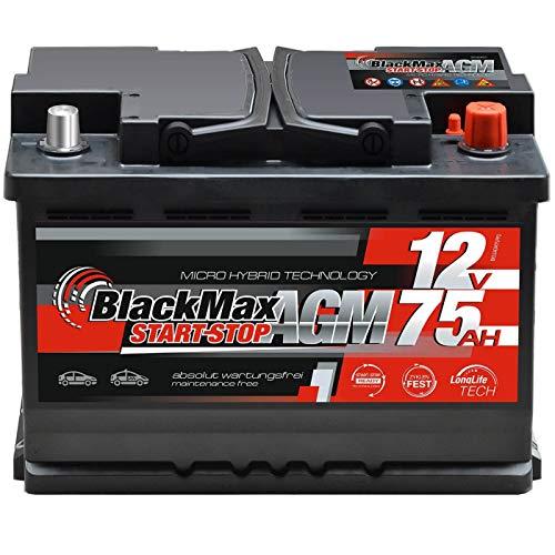 BlackMax Autobatterie Start-Stop 75Ah 12V AGM Starter Batterie ersetzt 70Ah 68Ah