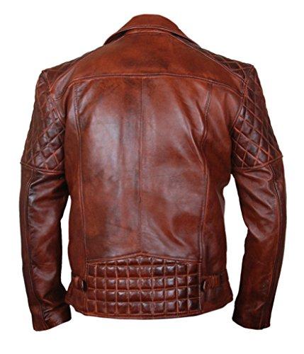 F&H Men's Genuine Sheepskin Waxed Leather Fashion Motorcycle Jacket brown