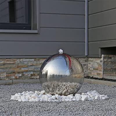 Edelstahl Springbrunnen ESB4 poliert Kugelspringbrunnen mit LED Beleuchtung Brunnen für den Garten von CLGarden - Du und dein Garten