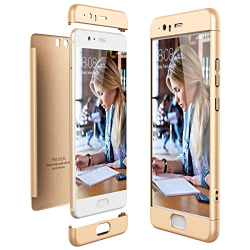 CE-Link Cover Huawei P10 Plus 360 Gradi Full Body Protezione, Custodia Huawei P10 Plus Silicone Rigida Snap On Struttura 3 in 1 Antishock e Antiurto, Huawei P10 Plus Case Antigraffio Molto Elegante - Oro