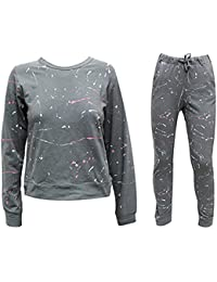 Oromiss Womens Splash Effect Tracksuit Lounge Wear Jumper and Trousers Sets