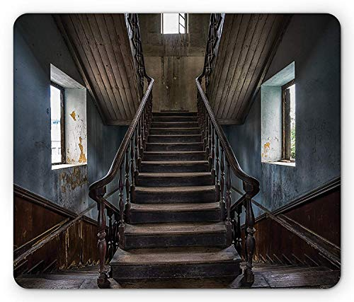 Scary Mouse Pad, Horror Movie Theme Classic Deserted Abandoned Home with Old Vintage Stairs Artwork