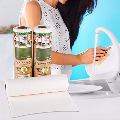 waspde Bambus Küchenrolle, Küchentücher Waschbar Bambustücher, Saugstarke Und Reißfeste Haushaltstücher Papiertücher, Mehrweg-Bambus-Papiertücher Pretty Good