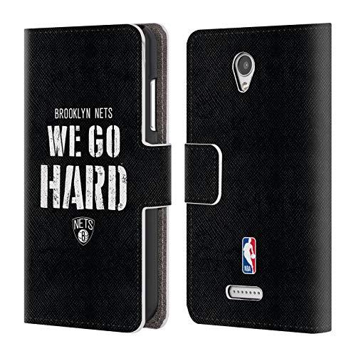 Head Case Designs Offizielle NBA Nets We Go Hard 2018/19 Team Slogan Brieftasche Handyhülle aus Leder für Lenovo B/Vibe B