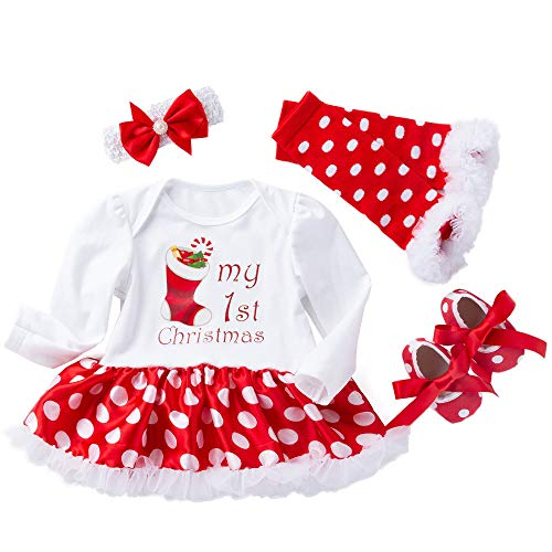 Neugeborenes Kleinkind Baby Mädchen Christmas 4 stück Karneval Party Outfits Es ist Mein 3. Weihnachten Tüll Tutu Rock Prinzessin Kleid+Stirnband+Leggings+Rote Schuhe Festliche Fotografie Kostüm
