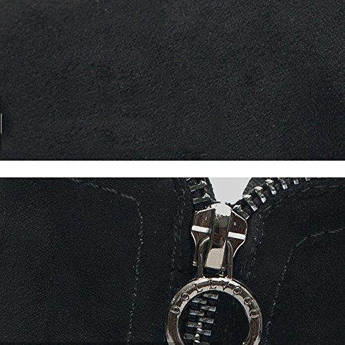 FUFU Stivali da combattimento da donna Stivali da combattimento Autunno Inverno Abbigliamento casual Tacco scuro Nero Khaki 8cm ( Colore : Nero , dimensioni : EU37/UK4-4.5/CN37 ) Nero