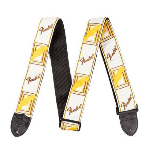 Fender 020170 - Correa guitarra 2 Inch Monogrammed Strap, White/brown/yellow Electric Guitar Strap