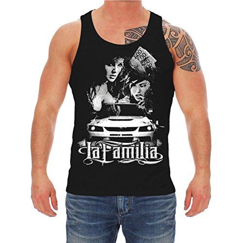 Männer und Herren Trägershirt TUNING - La Familia mit Rückendruck Schwarz