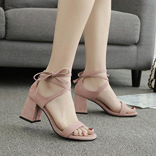ZPPZZP Ms sandali Bold e il a tacco alto estate stile Coreano testa rotonda punta aperta 38EU