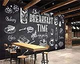 YGXPY Wallpaper Handgemalte Schwarz-Weiß-Restaurant Frühstück Zelt Westlichen Essen 3D Tapete, 300 * 210Cm