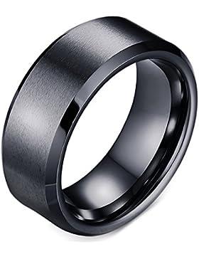 Herren-Ring Wolframcarbid Schwarz Hartmetall-Ring Wolfram Ehering Verlobungsring Ringe für Männer 8mm