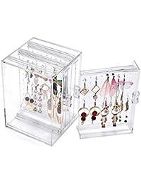 Soporte para pendientes, organizador de pendientes de acrílico AIYoo, estuche de almacenamiento transparente, 3 paneles de 80 agujeros, joyero con gancho