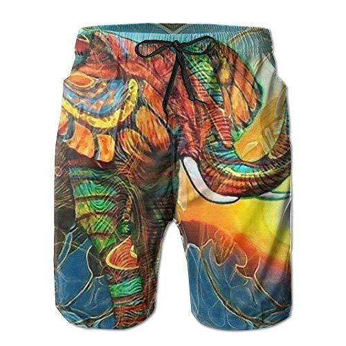 DLing Pantalones Cortos para Nadar, Pantalones de Nadar, veraniegos, Hombres, Elefantes Coloridos,...