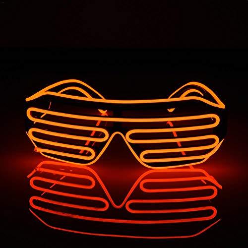 Rejoicing EL Brille Standard EL Brille Shutter Shades für Bar Party Fluoreszierend Dance DJ helle Gläser Weihnachten Mode Neon LED Licht Glow Rave Kostüm Party Atmosphäre Activing Requisiten C Red