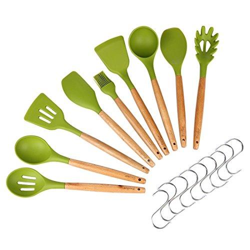 Fecihor 9 -Teilig Silikon Küchenhelfer Set, Hitzebeständig Küchenutensilien mit natürlichem harten Holzgriff, Non-Stick, BPA frei (Grün)