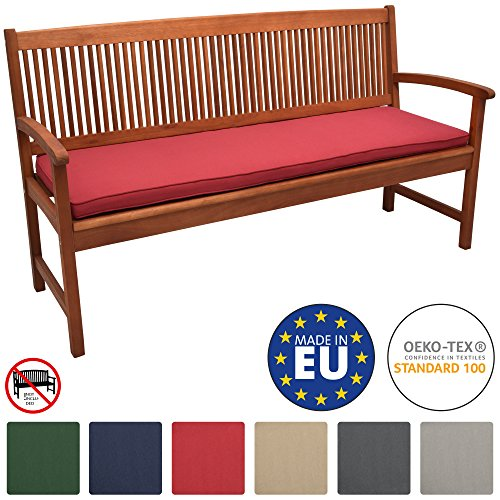 Beautissu Loft BK Bankauflage Auflage für Gartenbank Sitzkissen 150x48x5cm Rot Polsterauflage mit...