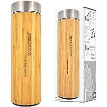 amapodo Taza térmica 500ml Taza de bambú aislante con colador de té y tapa Botella térmica de acero inoxidable aislada termo máquina de té Fabricante de Té envase café para llevar de Doble pared infusor Libre de BPA