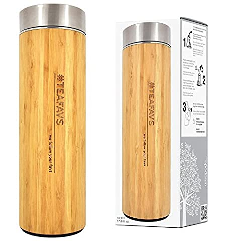 amapodo thermo mug 500ml insulated bamboo with tea strainer and lid stainless steel thermos flask cup tumbler maker bottle to go double-walled infuser