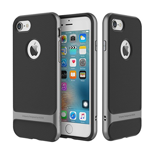 ROCK Royce Original iPhone 7 Plus Harte TPU Hülle Bumper Case Schutzhülle Handyhülle Shell-Schutz für Apple iPhone 7 Plus - Grau + Screen Saver