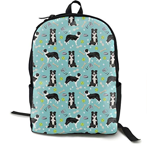 SMALL - Border Collie Toys Tennis Balls Light Blue Fabric Adult Premium Travel Backpack, Water-Resistant College School Bookbag, Sport Daypack, Outdoor Rucksack, Laptop Bag for Men&Women