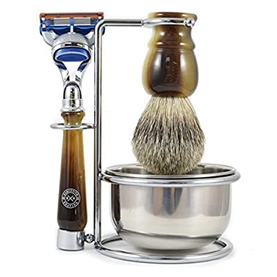 The Executive Shaving Company Faux Horn Gillette Fusion Compatible Razor Shaving Set