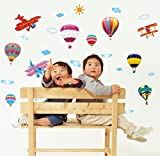 UberLyfe Hot Air Balloon Aircarfe Wall Sticker Size 2 (Wall Covering Area: 70cm x 150cm) - WS-001376