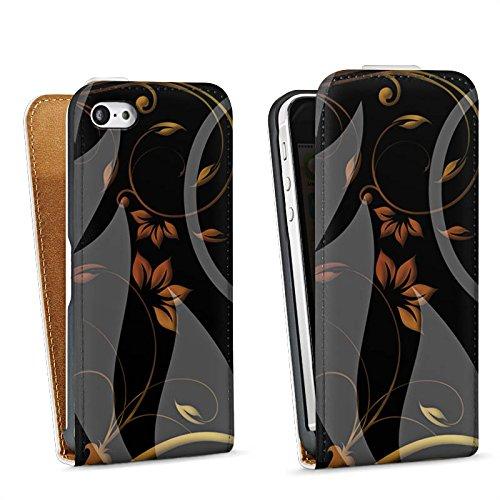Apple iPhone 5s Housse étui coque protection Ornements Fleurs Fleurs Sac Downflip blanc