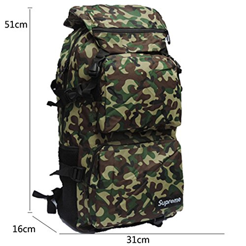 Wewod da uomo per il tempo libero all' aperto tela zaino Camouflage impermeabile borsa per la scuola con grande capacità, Grün-c, 31CM*51CM*16CM Grün-a