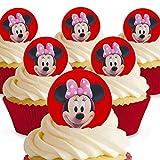 12 x Vorgeschnittene und Essbare Disney Minnie Mouse Kuchen Topper (Tortenaufleger, Bedruckte Oblaten, Oblatenaufleger)