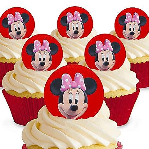Lot de 12 mini-disques Minnie Mouse Comestibles PRÉ-DÉCOUPÉS par Cakeshop