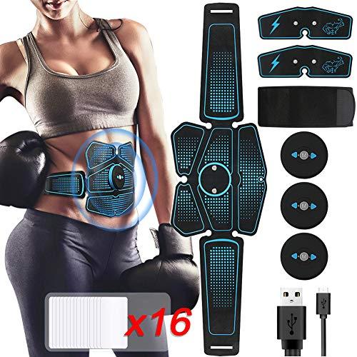 【2019 Neue Version 】EMS Bauchmuskeltrainer, HIEHA EMS Training Muskelstimulator USB Wiederaufladbar EMS Trainingsgerät für Körperbau und Fettverbrennung