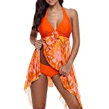 Riou Sommer Damen Tankinis Große Größen Push Up Sexy Bikini Set Frau 2pcs V-Ausschnitt Bikinis Swim Kleid Badeanzug Beachwear Bademode Badeanzüge Für Sommer Beach Party Swimdress (3XL, Orange)