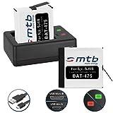 2 Batterie + Caricabatteria doppio (USB) per SJCAM SJ6 Legend WiFi (Black / Silver / Rose Edition), SJ6000 Legend Actioncam - Cavo USB micro incluso