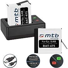 2 Baterías + Cargador doble (USB) para cámara deportiva SJCAM SJ6 Legend WiFi (Black / Silver / Rose Edition), SJ6000 Legend Actioncam - contiene cable micro USB