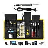 ACCEWIT 87 in 1 Kit Cacciaviti Professionale Set cacciaviti di precisione Strumenti di riparazione professionali con 1 penna per la saldatura a temperatura regolabile e 5 punte per saldatore