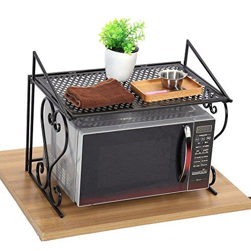 Zerone Mikrowelle Rack/Regal, Single Layer Schwarz Eisen Modische Falten, der Mikrowelle Rack Ständer Küche Ablage Organizer 54,5x 36x 42,5cm -
