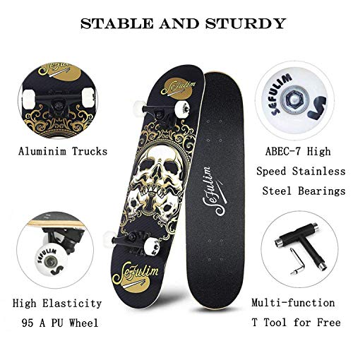 Zoom IMG-2 sefulim skull skateboard complete 31x8