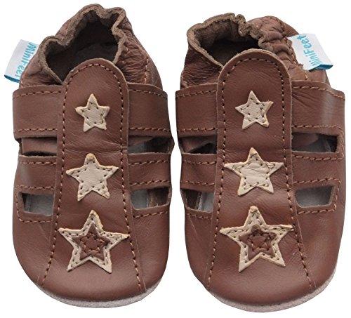 MiniFeet Premium Weich Leder babyschuhe 0-6, 6-12, 12-18, 18-24 Monate und 2-3, 3-4 Jahre Jungen Braun Sandale