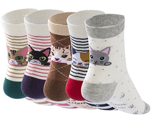 Aitos Socken Damen Baumwolle Bunt Muster Kurz Lustige Tiere Charakter Witzig Trendige Original Freizeit Größe 38-42 Herbst Winter Warm